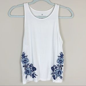 Soft & Sexy AEO White Floral Tank Top MD